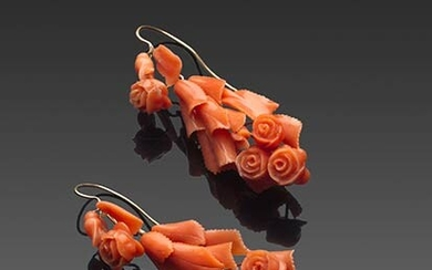 Flowers and leaves ancient Sciacca coral (Corallium Rubrum) earrings, the...