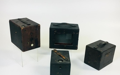 """Four Plate Cameras, Rochester, New York, two Sunart cameras: a 5 x 7 """"Folding View"""" and a 4 x 5 """"Junior No. 2""""; a Western """"Cyclone Jr"""""""