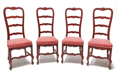 Four Red Painted French Style Side Chairs