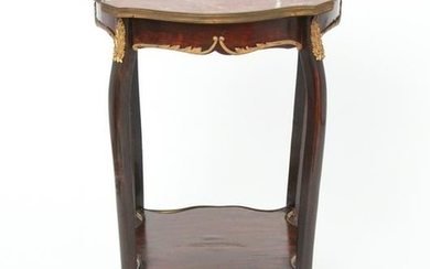 French Marble Top Side Table w Gilt Bronze Mounts