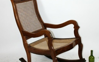 French walnut caned rocking chair