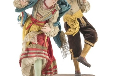 GROUP OF TWO CRIB FIGURES - NAPLES 19TH CENTURY