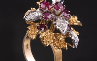 Gold, Ruby, and Diamond Flower Ring