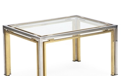 Guy Lefèvre, attributed: Coffee table with frame of brass and chromed steel and glass top....