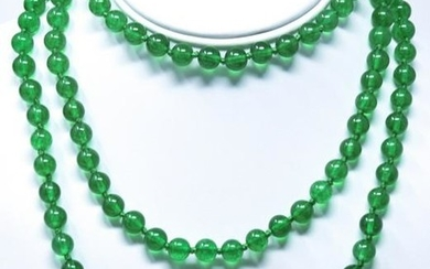Hand Knotted Green Nephrite Jade Necklace