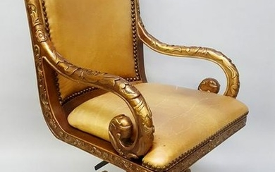 Heavily Carved Swivel Desk Chair with Tan Leather