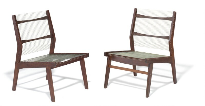 """Helge Vestergaard Jensen: """"The Concealed Bedroom"""". A pair of chairs with teak frame and angled back. Seat and back strung with nylon cords. (2)"""