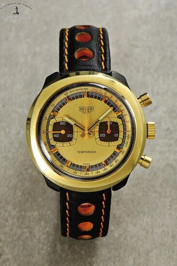 "Heuer, Swiss, ""Temporada"", Ref. 733809, Cal. Val. 7733, 41 x 42 mm, circa 1972 An extremely rare, newly revised vintage wristwatch with chronograph, tachy and pulsation scale Case: black fibreglass, gold plated bezel, push back. Dial: gilt. Firmly in..."