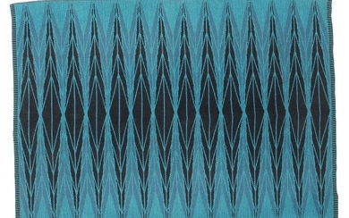"""Ingrid Dessau: """"Sylarna/The Awls"""". Double woven wool carpet in shades of blue and turquoise. Manufactured by Kasthall, Sweden."""