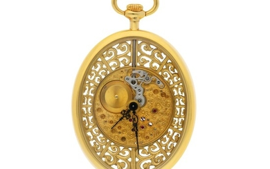 JAEGER-LECOULTRE | A FINE YELLOW GOLD OVAL SKELETONIZED OPEN FACED WATCH CIRCA 1997