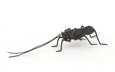 Japanese patinated bronze locust with articulated legs and a...