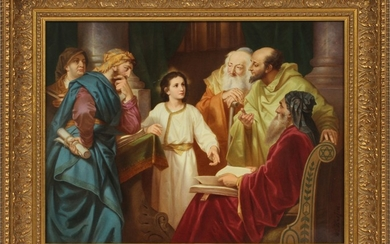 KPM BERLIN PORCELAIN PLAQUE 12 16 CHRIST IN THE TEMPLE