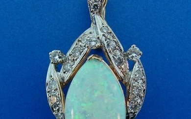 Lovely OPAL DIAMOND YELLOW GOLD PENDANT ENCHENCER