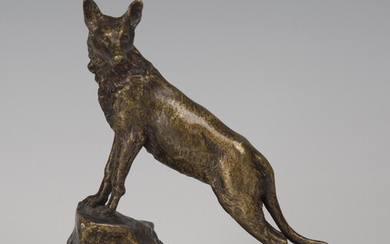 Marius-Joseph Sain - an early 20th century French patinated cast bronze model of a wolf standing on