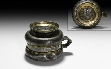 Medieval Parcel-Gilt Loving Cup with Engraved Roundel