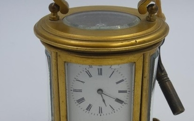 Miniature French C19th oval carriage timepiece, the lever mo...