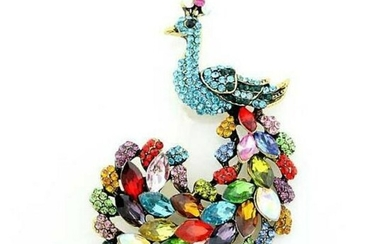 Multi-colored Rhinestone Peacock Brooch Pin