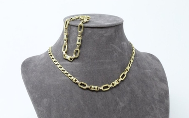 Necklace and bracelet in 18K (750) yellow gold,...