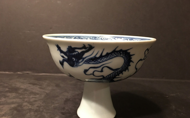 "OLD Chinese Blue and White dragon footed cup, 4 1/4"" top diameter, 3 3/4"" high"