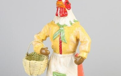 Old cast iron rooster with iron basket. Handpainted.