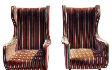 PAIR MID CENTURY MODERN WINGBACK CHAIRS