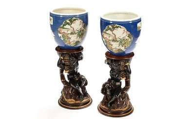 PAIR OF CHINESE POLYCHROME PORCELAIN PLANTERS