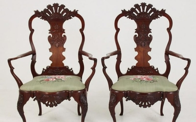 PR OF 19TH C. CARVED MAHOGANY PORTUGUESE ARMCHAIRS