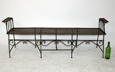 Painted cast iron garden bench