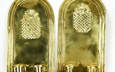 Pair Gilt Brass Pineapple Motif Sconces
