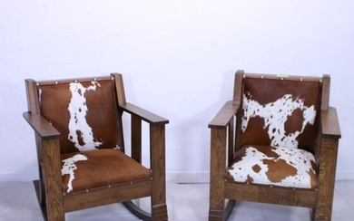 Pair Hide Upholstered Oak Rocking Chairs