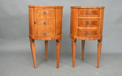 Pair Italian round Occasional tables each with cabinet