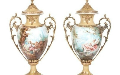 Pair Of Italian Tiche Gilt Metal Mounted Covered