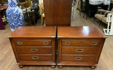 Pair Solid wood American 3 drawer cabinets with brass fittin...