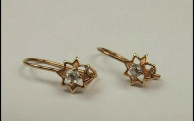 Pair of 14ct Rose Gold Zirconia Flower Head Earrings