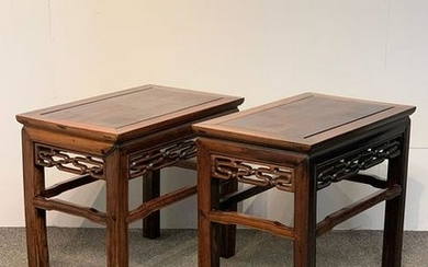Pair of Chinese Rosewood Side Tables