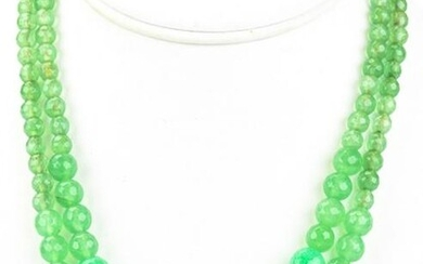 Pair of Faceted & Graduated Green Jade Necklaces