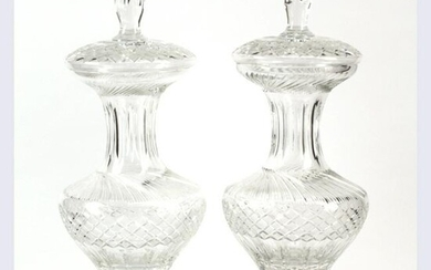 Pair of Large Baccarat Style Covered Urns.