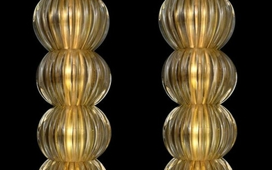 Pair of Large Murano Sconces, Manner of Barovier & Toso