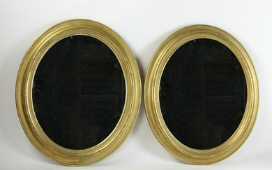 Pair of Victorian Gold Leaf Oval Mirrors