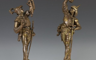 Pair of gilded bronze sculptures, 19th century;, Hunters...