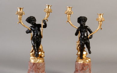 Pair of gilt two-armed candlesticks with putti (2)