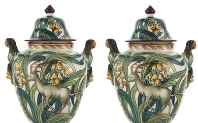 Pair of majolica baluster potiches Italy, early 20th