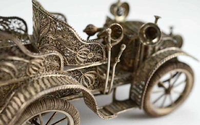 RARE RUSSIAN LARGE SILVER FILIGREE AUTOMOBILE