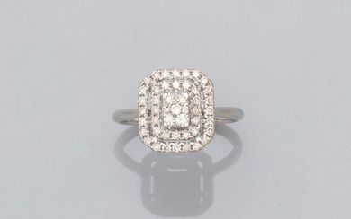 Ring forming a square plate with cut sides in white gold, 750 MM, openwork, covered with diamonds, size : 54, weight : 3gr. rough.