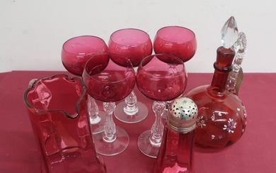 Ruby glass mallet shaped decanter, the body painted with flo...