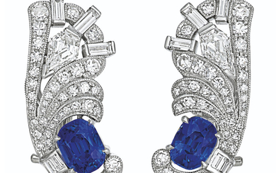 SAPPHIRE AND DIAMOND EARRINGS, RAYMOND YARD,