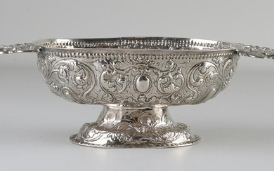 Silver Frisian brandy bowl with driven floral images on