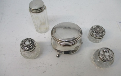 Silver dressing table items, comprising of a ring box, Birmi...