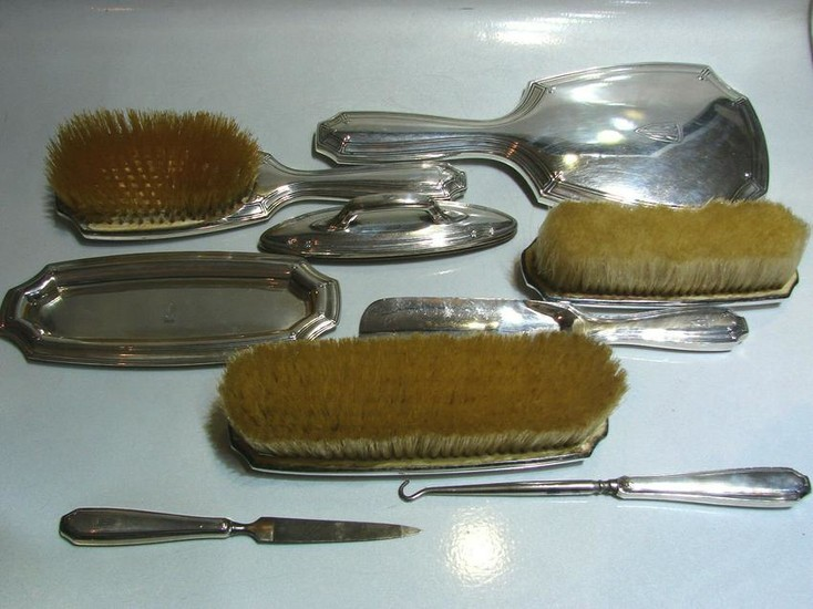 TIFFANY & CO. T&CO. STERLING SILVER VANITY SET 9 ITEMS