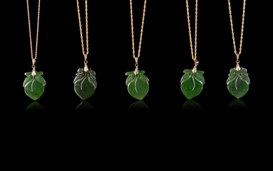 Ten Chinese Gilt Metal and Spinach Jade Necklaces